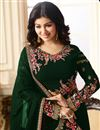 photo of Ayesha Takia Georgette Party Wear Straight Cut Salwar Kameez In Green With Embroidery Work