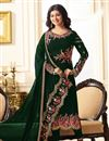 image of Ayesha Takia Georgette Party Wear Straight Cut Salwar Kameez In Green With Embroidery Work