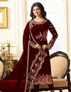 image of Ayesha Takia Maroon Georgette Festive Wear Straight Cut Salwar Suit With Embroidery Work