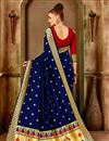 photo of Traditional Function Wear Navy Blue Art Silk Saree With Weaving Work