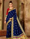 image of Traditional Function Wear Navy Blue Art Silk Saree With Weaving Work