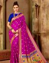 image of Function Wear Art Silk Fancy Pink Weaving Work Saree