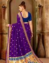 photo of Weaving Work Art Silk Purple Party Style Traditional Saree