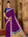 image of Weaving Work Art Silk Purple Party Style Traditional Saree