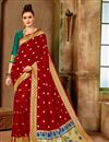 image of Party Wear Traditional Saree In Art Silk With Weaving Work