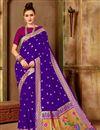 image of Art Silk Fabric Traditional Purple Weaving Work Fancy Party Wear Saree