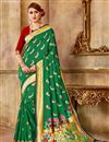 image of Weaving Work Art Silk Fabric Green Fancy Function Wear Traditional Saree