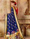 photo of Traditional Function Wear Navy Blue Art Silk Fabric Saree With Weaving Work