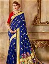 image of Traditional Function Wear Navy Blue Art Silk Fabric Saree With Weaving Work