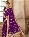 image of Function Wear Art Silk Fabric Fancy Purple Weaving Work Saree