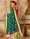 photo of Traditional Function Wear Teal Art Silk Fabric Saree With Weaving Work