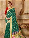 image of Weaving Work Art Silk Fabric Teal Party Style Traditional Saree