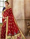 image of Function Wear Art Silk Fabric Fancy Red Weaving Work Saree