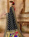 photo of Weaving Work Art Silk Fabric Black Party Style Traditional Saree