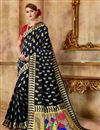 image of Weaving Work Art Silk Fabric Black Party Style Traditional Saree