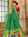 photo of Weaving Work Green Art Silk Fancy Function Wear Traditional Saree