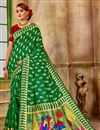image of Weaving Work Green Art Silk Fancy Function Wear Traditional Saree