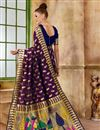photo of Weaving Work Purple Art Silk Party Style Traditional Saree