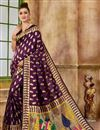 image of Weaving Work Purple Art Silk Party Style Traditional Saree
