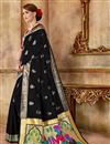 photo of Party Wear Traditional Saree In Black With Weaving Work