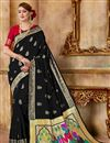 image of Party Wear Traditional Saree In Black With Weaving Work