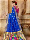 photo of Blue Traditional Art Silk Fabric Weaving Work Fancy Party Wear Saree