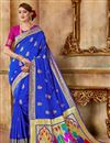 image of Blue Traditional Art Silk Fabric Weaving Work Fancy Party Wear Saree