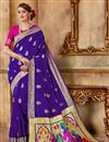 image of Traditional Function Wear Art Silk Fabric Purple Saree With Weaving Work