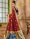 photo of Function Wear Red Fancy Art Silk Fabric Weaving Work Saree
