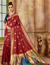 image of Function Wear Red Fancy Art Silk Fabric Weaving Work Saree