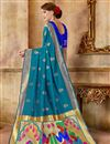 photo of Weaving Work Sky Blue Art Silk Fabric Party Style Traditional Saree