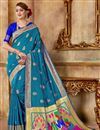 image of Weaving Work Sky Blue Art Silk Fabric Party Style Traditional Saree