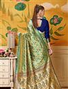 photo of Fancy Weaving Work On Art Silk Designer Saree In Green
