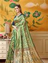 image of Fancy Weaving Work On Art Silk Designer Saree In Green