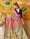photo of Art Silk Rani Color Festive Wear Saree With Weaving Work