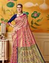 image of Art Silk Rani Color Festive Wear Saree With Weaving Work