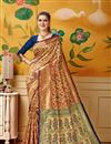 image of Weaving Work Art Silk Wedding Wear Maroon Color Saree With Blouse