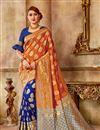 image of Function Wear Traditional Orange Saree In Art Silk