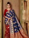 image of Traditional Fancy Saree In Navy Blue Art Silk
