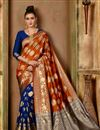 image of Traditional Fancy Saree In Orange Art Silk