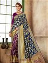 image of Navy Blue Function Wear Fancy Saree In Art Silk Fabric