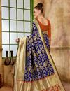 photo of Function Wear Traditional Navy Blue Fancy Saree In Art Silk