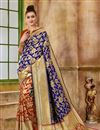 image of Function Wear Traditional Navy Blue Fancy Saree In Art Silk