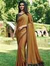 image of Prachi Desai Embroidery Work On Golden Art Silk Designer Saree