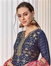 photo of Occasion Wear Navy Blue Color Weaving Work Readymade Anarkali Salwar Kameez