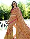 image of Prachi Desai Cream Printed Designs Georgette Office Wear Saree