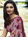 photo of Prachi Desai Georgette Lavender Daily Wear Printed Saree
