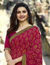 photo of Prachi Desai Dark Pink Georgette Printed Designer Saree
