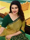 photo of Prachi Desai Mustard Color Georgette Printed Designer Saree