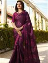 image of Prachi Desai Printed Fancy Fabric Purple Function Wear Saree With Blouse